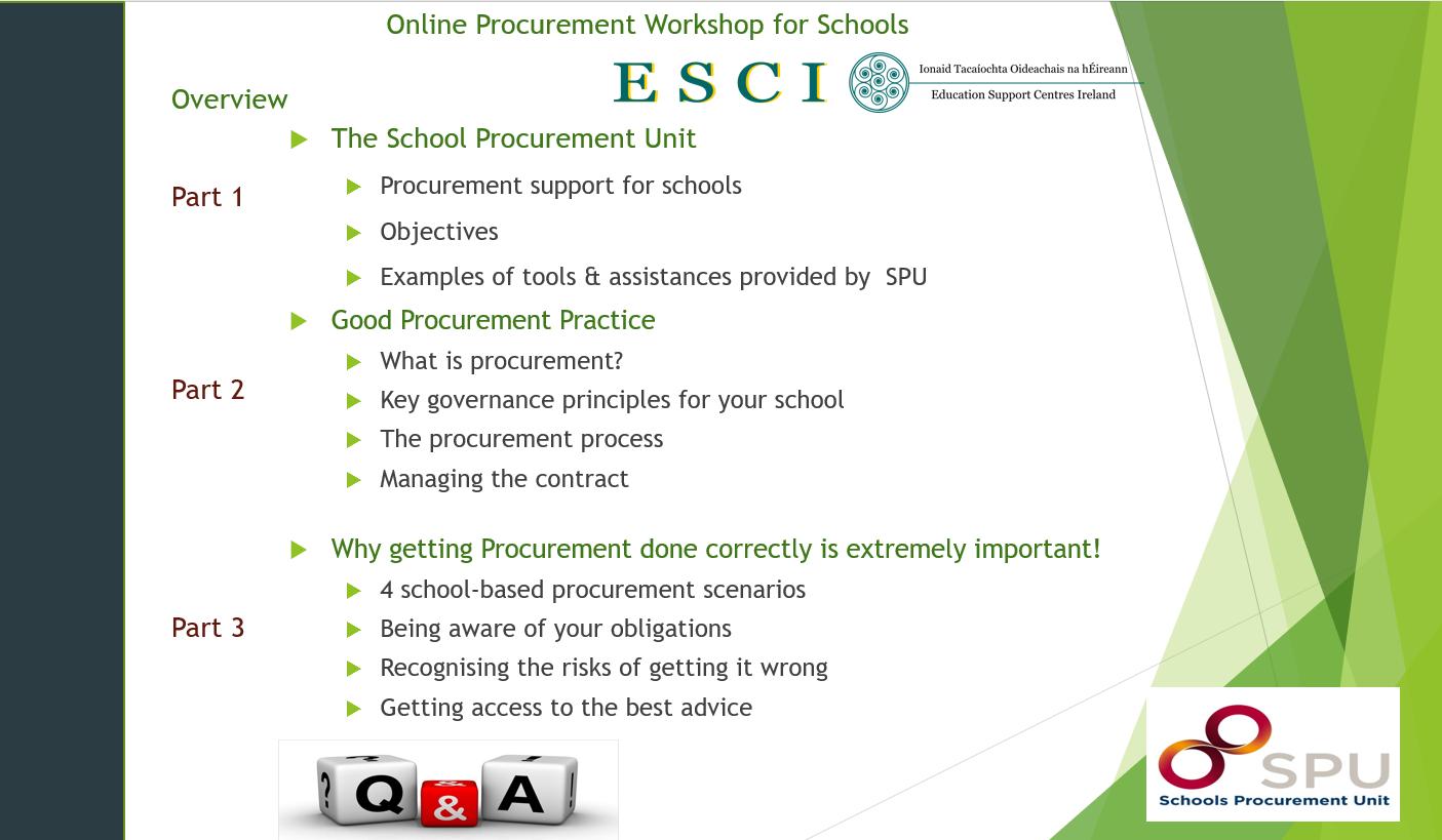 Schools Procurement Unit Workshop